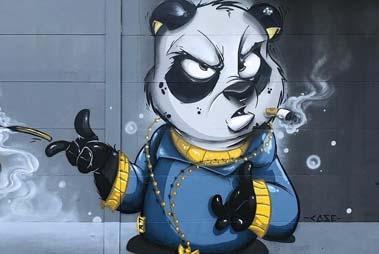 Vemos en esta imagen el dibujo de un oso realizado con la técnica de graffiti wild style