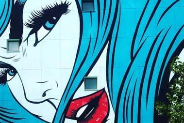 Mostramos un ejemplo al usuario de un mural realizado con el estilo arte pop por nustros pintores de graffiti profesionales