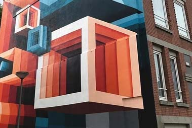 El objetivo de esta imagen es mostrar graffiti geometrico, se pueden apreciar sus lineas rectas