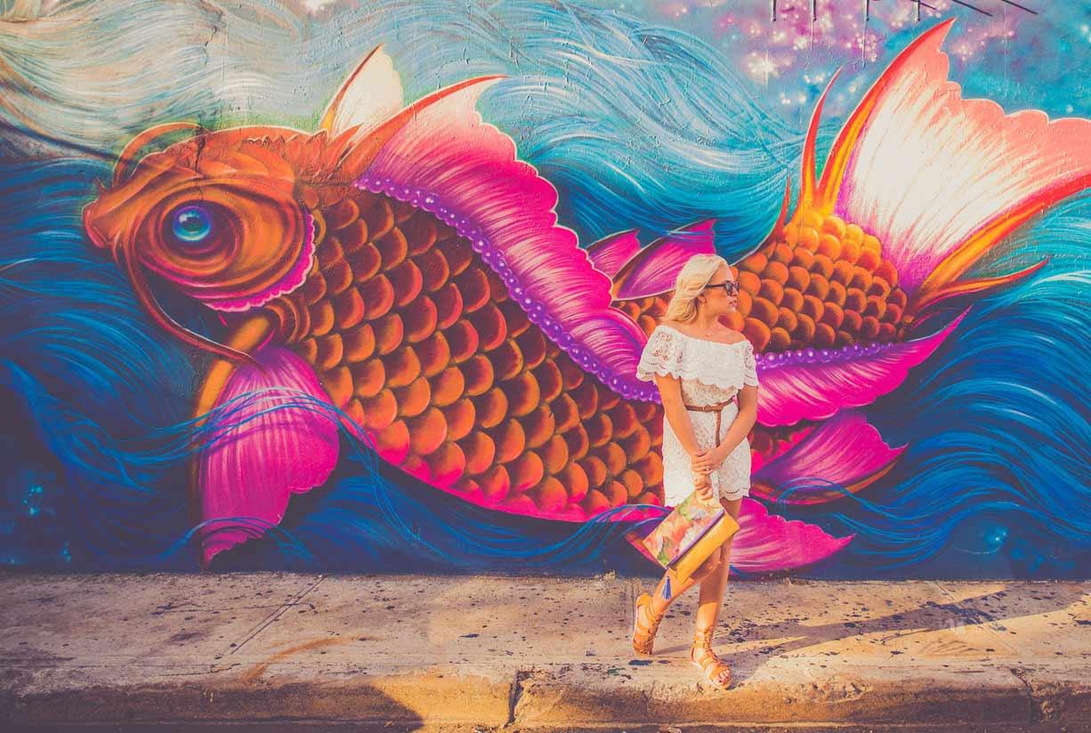 En esta foto el usuario puede ver el dibujo de un graffiti decorativo de peces lleno de colorido