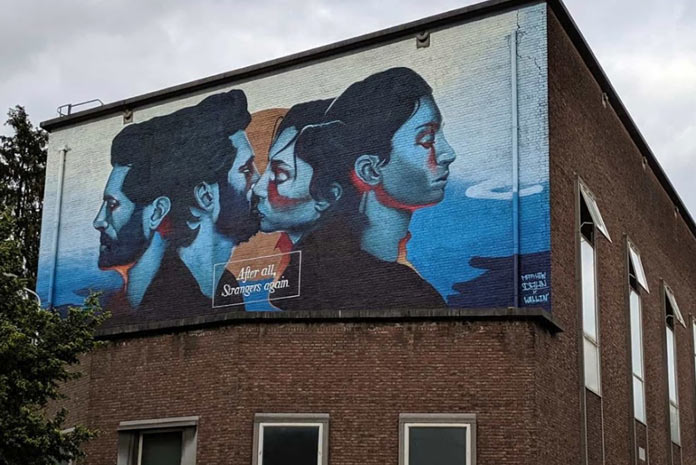 Aquí exponemos otro mural de graffiti abstracto relizado por Mokita Walls en Madrid