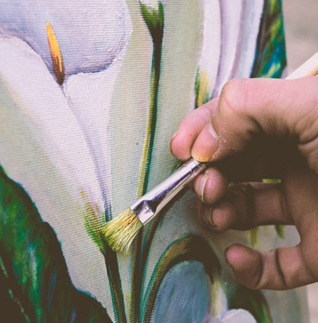 En esta foto se ve como se pinta el mural