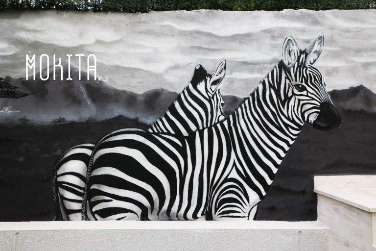 En esta imagen vemos un mural decorativo que realizamos en los muros de un cliente en Madrid