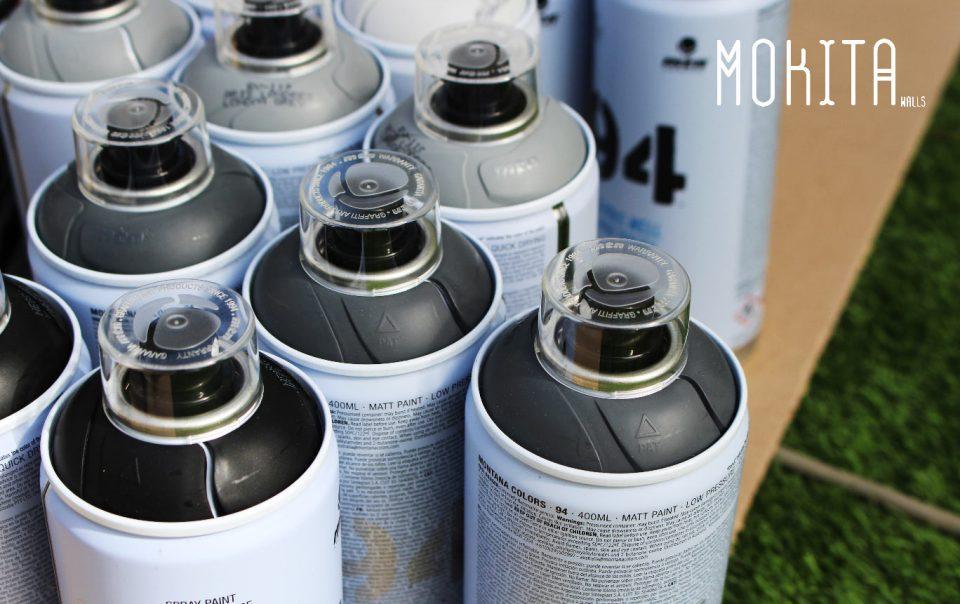 En esta imagen vemos un conjunto de aerosoles o sprays con los que nuestros graffiteros proesionales realizan murales decorativos